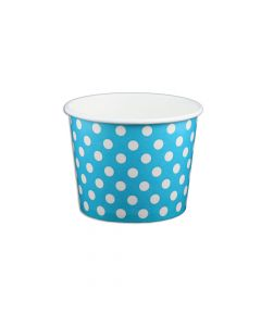 Yocup 12 oz Polka Dot Blue Cold/Hot Paper Food Container - 1 case (1000 piece)