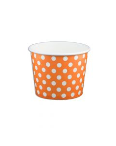 Yocup 12 oz Polka Dot Orange Cold/Hot Paper Food Container - 1 case (1000 piece)