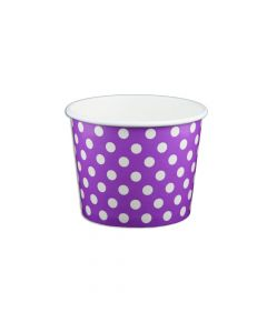 Yocup 12 oz Polka Dot Purple Cold/Hot Paper Food Container - 1 case (1000 piece)