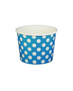 Yocup 16 oz Polka Dot Blue Cold/Hot Paper Food Container - 1 case (1000 piece)