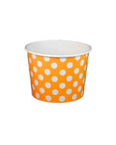 Yocup 16 oz Polka Dot Orange Cold/Hot Paper Food Container - 1 case (1000 piece)