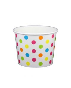 Yocup 16 oz Polka Dot Rainbow Cold/Hot Paper Food Container - 1 case (1000 piece)