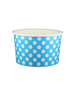 Yocup 20 oz Polka Dot Blue Cold/Hot Paper Food Container - 1 case (600 piece)