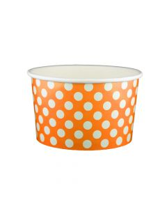 Yocup 20 oz Polka Dot Orange Cold/Hot Paper Food Container - 1 case (600 piece)