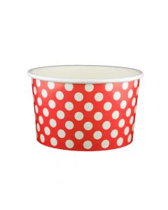 Yocup 20 oz Polka Dot Red Cold/Hot Paper Food Container - 1 case (600 piece)
