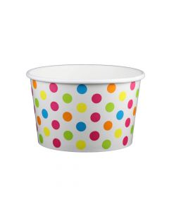 Yocup 20 oz Polka Dot Rainbow Cold/Hot Paper Food Container - 1 case (600 piece)
