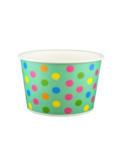 Yocup 24 oz Polka Dot Aqua Rainbow Cold/Hot Paper Food Container - 1 case (600 piece)