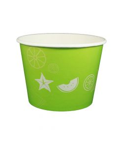 Yocup 32 oz Fruit Pattern Lime Green Cold/Hot Paper Food Container - 1 case (600 piece)