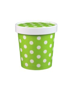 Yocup 16 oz Polka Dot Green Paper Ice Cream Container with Paper Lid Combo - 1 case (250 set)