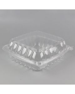 "CJ 8'' x 8"" Clear PET Plastic Hinged-Lid Take Out Container - 1 case (200 piece)"
