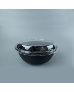 Yocup 24 oz Black Microwavable Plastic Bowl With Clear Lid Combo - 1 case (300 set)
