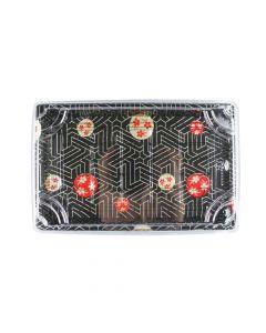 "Yocup Size 07 Sakura Pattern Sushi Tray w/Clear Lid Combo (8.5"" x 5.5"" x 1.75"") - 1 case (400 set)"