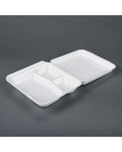 "TL 8'' x 8"" x 2.5"" White 3-Compartment Foam Hinged-Lid Take Out Container - 1 case (200 piece)"