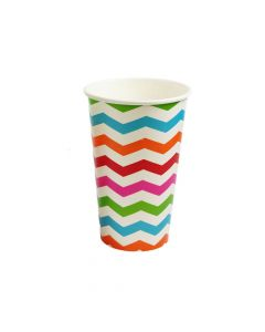 Yocup 16 oz Chevron Print Rainbow Paper Cold Cup - 1 case (1000 piece)