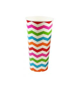Yocup 22 oz Chevron Print Rainbow Paper Cold Cup - 1 case (1000 piece)