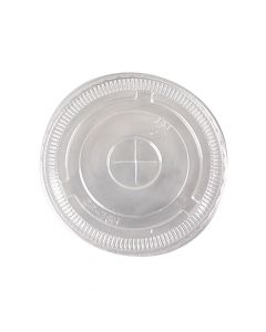 Yocup 8-10 oz Clear Plastic Flat Lid With X-Slot For PET Cups (78mm) - 1 case (1000 piece)