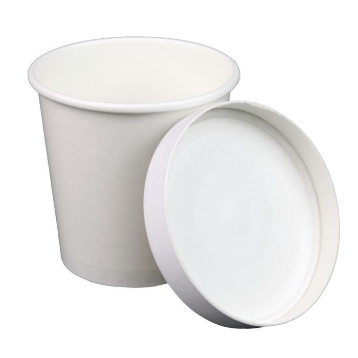 Microwavable Pint Ice Cream Containers Take Out Recyclable 16 oz Disposable White Paper Soup Containers with Lids Combo 250 Count Frozen Yogurt Cups Restaurant to Go Deli Containers
