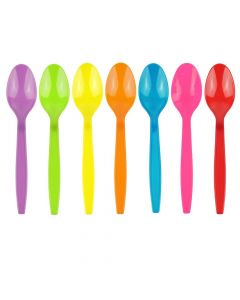 Yocup Assorted 5 Colors Heavyweight Plastic Spoon With Textured Handle - 1 case (1000 piece)