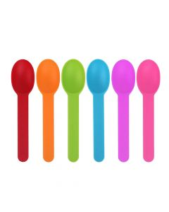 Yocup Premium Plastic Wide Handle Spoon, Assorted 5 Colors - 1 case (1000 piece)