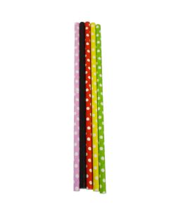 "Yocup 7.75"" Jumbo (6mm) Assorted Dots Paper-Wrapped Paper Straw - 1 case (2000 piece)"
