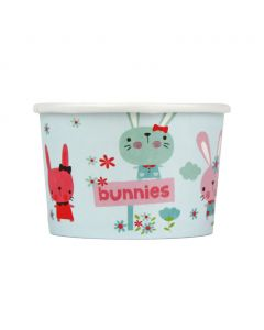 Yocup 4 oz Bunnies Cold/Hot Paper Food Container - 1 case (1000 piece)