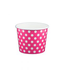 Yocup 12 oz Polka Dot Pink Cold/Hot Paper Food Container - 1 case (1000 piece)