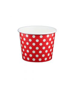 Yocup 12 oz Polka Dot Red Cold/Hot Paper Food Container - 1 case (1000 piece)