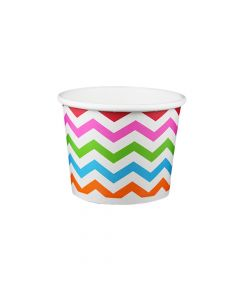 Yocup 12 oz Chevron Rainbow Cold/Hot Paper Food Container - 1 case (1000 piece)