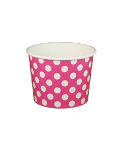 Yocup 16 oz Polka Dot Pink Cold/Hot Paper Food Container - 1 case (1000 piece)