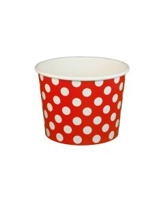 Yocup 16 oz Polka Dot Red Cold/Hot Paper Food Container - 1 case (1000 piece)
