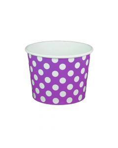 Yocup 16 oz Polka Dot Purple Cold/Hot Paper Food Container - 1 case (1000 piece)