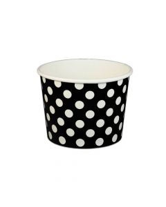 Yocup 16 oz Polka Dot Black Cold/Hot Paper Food Container - 1 case (1000 piece)