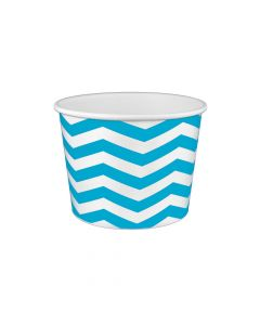 Yocup 16 oz Chevron Print Blue Cold/Hot Paper Food Container - 1 case (1000 piece)