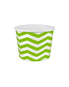 Yocup 16 oz Chevron Print Green Cold/Hot Paper Food Container - 1 case (1000 piece)
