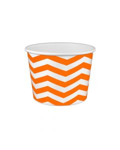 Yocup 16 oz Chevron Print Orange Cold/Hot Paper Food Container - 1 case (1000 piece)