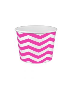Yocup 16 oz Chevron Print Pink Cold/Hot Paper Food Container - 1 case (1000 piece)