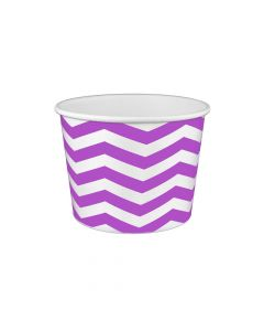 Yocup 16 oz Chevron Print Purple Cold/Hot Paper Food Container - 1 case (1000 piece)