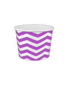 Yocup 16 oz Chevron Print Purple Cold/Hot Paper Food Container - 1 case (1000 piece)