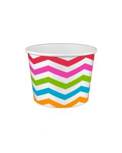 Yocup 16 oz Chevron Print Rainbow Cold/Hot Paper Food Container - 1 case (1000 piece)