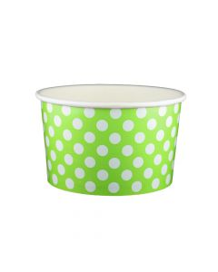 Yocup 20 oz Polka Dot Lime Green Cold/Hot Paper Food Container - 1 case (600 piece)