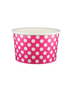 Yocup 20 oz Polka Dot Pink Cold/Hot Paper Food Container - 1 case (600 piece)
