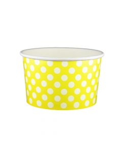 Yocup 20 oz Polka Dot Yellow Cold/Hot Paper Food Container - 1 case (600 piece)