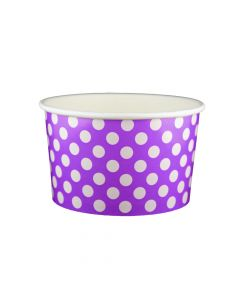 Yocup 20 oz Polka Dot Purple Cold/Hot Paper Food Container - 1 case (600 piece)