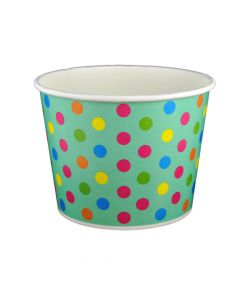Yocup 32 oz Polka Dot Aqua Rainbow Cold/Hot Paper Food Container - 1 case (600 piece)