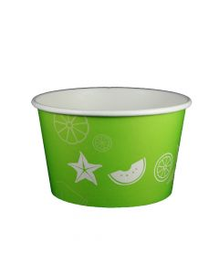 Yocup 24 oz Fruit Pattern Lime Green Cold/Hot Paper Food Container - 1 case (600 piece)