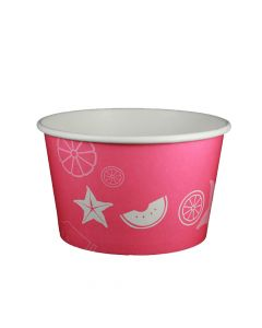 Yocup 24 oz Fruit Pattern Pink Cold/Hot Paper Food Container - 1 case (600 piece)