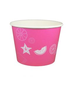 Yocup 32 oz Fruit Pattern Pink Cold/Hot Paper Food Container - 1 case (600 piece)
