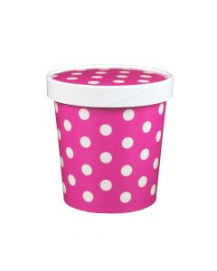 Yocup 16 oz Polka Dot Pink Paper Ice Cream Container with Paper Lid Combo - 1 case (250 set)
