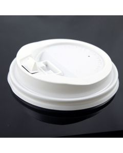Yocup 10-24 White Plastic Lock-Back Sipper Lid For Paper Hot Cups - 1 case (1000 piece)