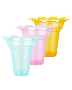Yocup 10 oz Assorted (3 Colors) Flower Shaped Snow Cone Cup - 1 case (400 piece)